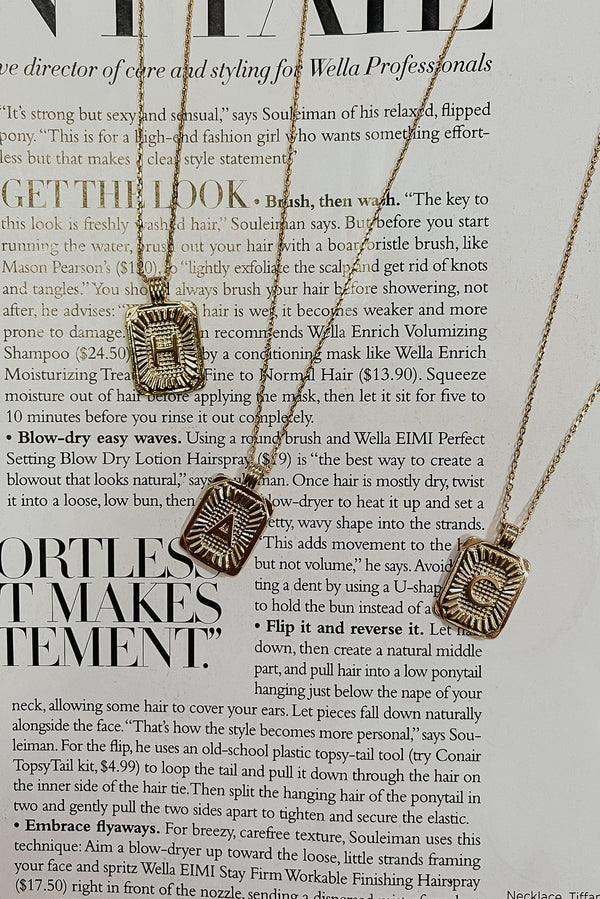 A / Gold Leave a Message Tag Initial Necklace - Madison and Mallory