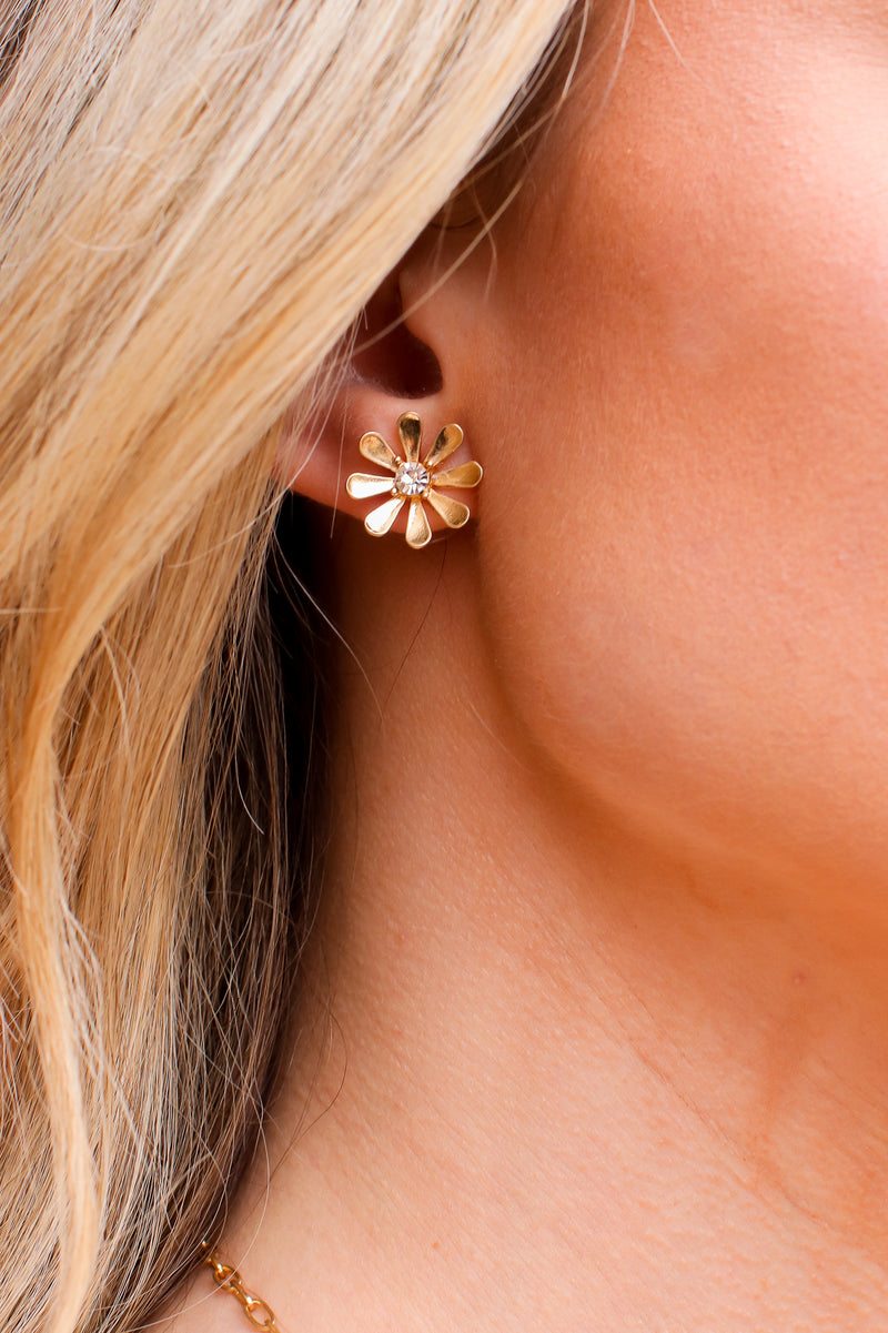 Gold Blissful Blooms Flower Stud Earrings - Madison and Mallory
