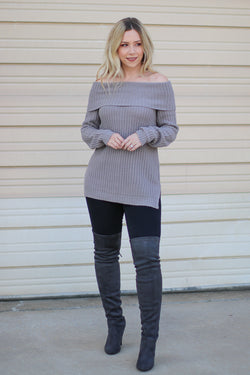 S / Pearl Gray Brandy Off the Shoulder Sweater - Madison + Mallory