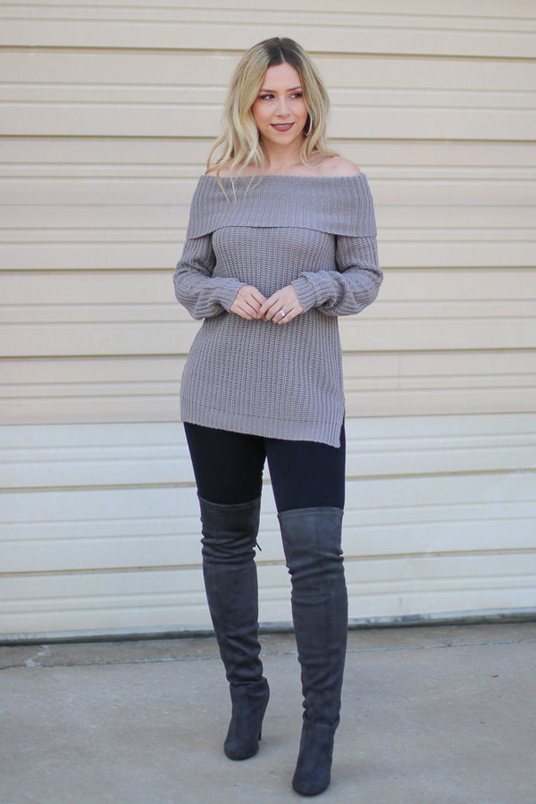 S / Gray Brandy Off the Shoulder Sweater + MORE COLORS - Madison + Mallory