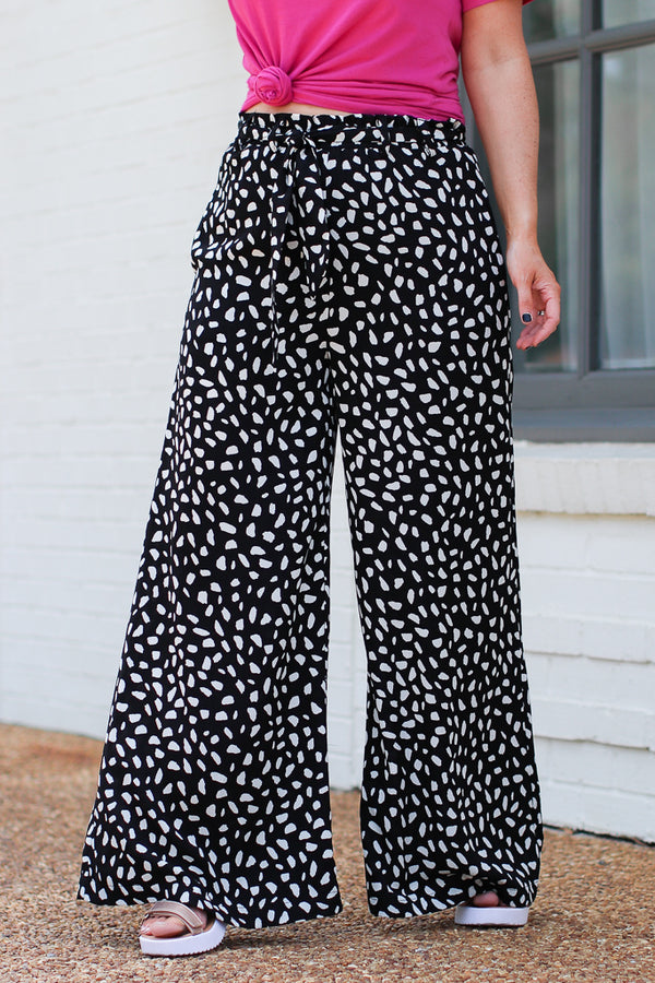 S / Black Top of the World Wide Leg Dot Pants - Madison + Mallory