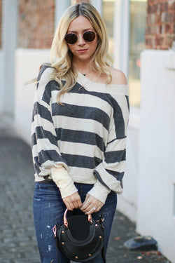 S / Charcoal Catrice Striped Sweater - Madison + Mallory