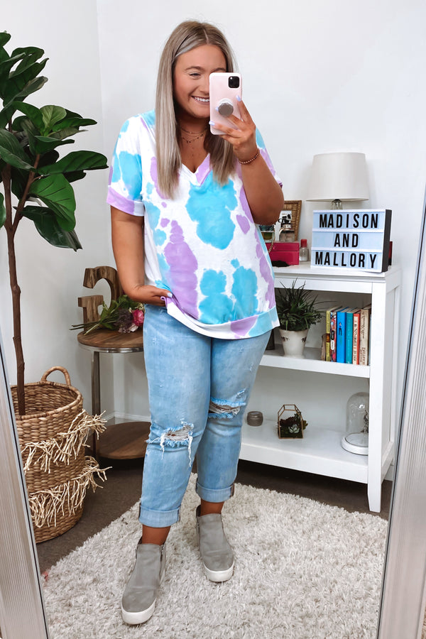 Blue / S In Good Time Tie Dye Top - Blue - Madison and Mallory
