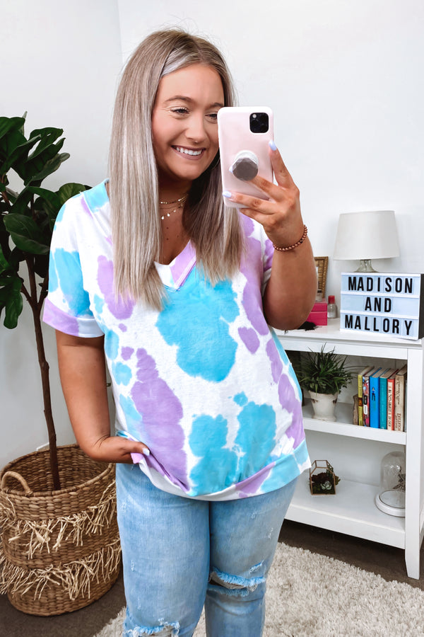 In Good Time Tie Dye Top - Blue - Madison and Mallory