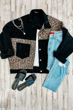Black / S Cool Again Animal Print Contrast Denim Jacket - Madison and Mallory