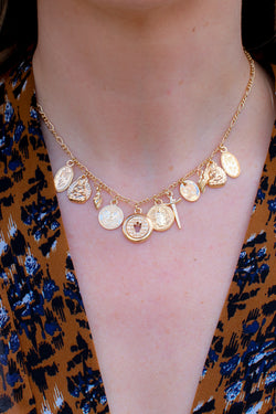 OS / Gold Sumter Coin Charm Necklace + MORE COLORS - Madison + Mallory