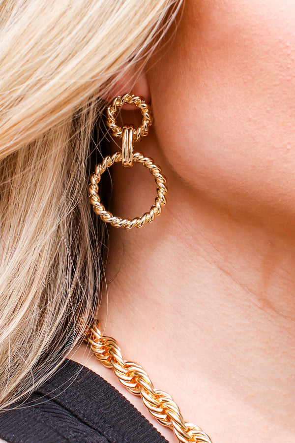 Gold Artistic Eye Rope Twist Detail Earrings - Madison and Mallory