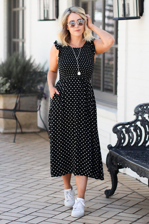 S / Black In My Heart Polka Dot Dress - Madison and Mallory