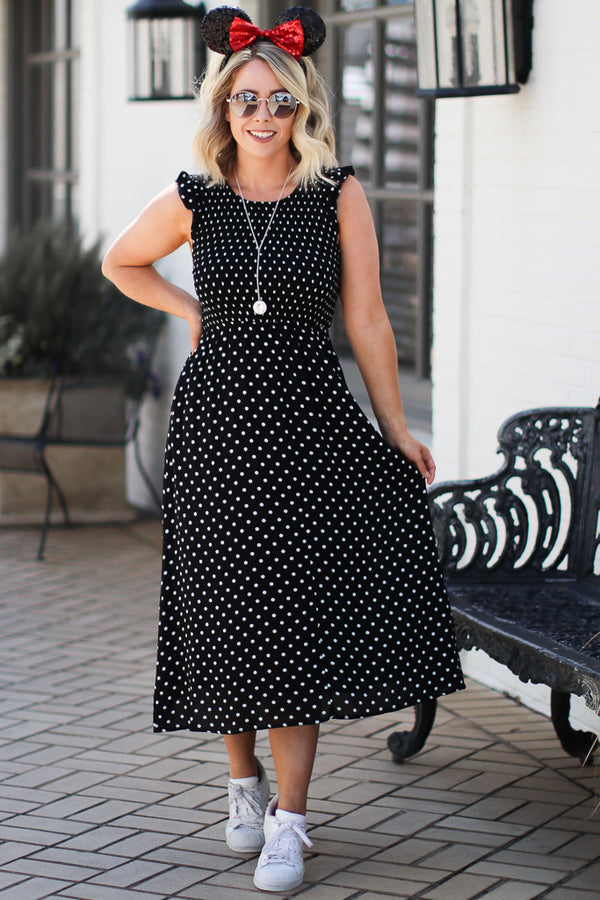 M / Black In My Heart Polka Dot Dress - Madison + Mallory