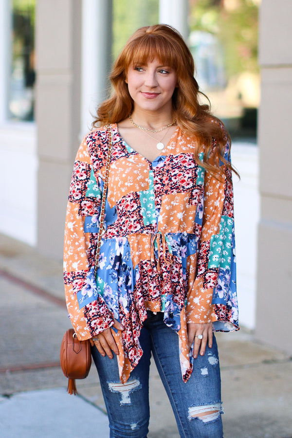 S / Multi Golden Moment Multi Patchwork Top - Madison + Mallory