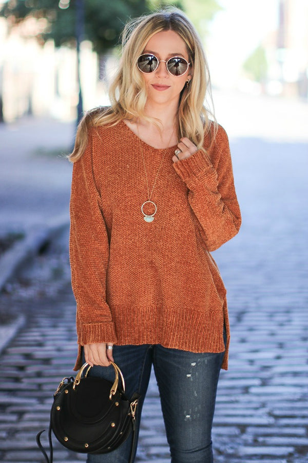S / Camel Current Casual Knit Sweater - Madison + Mallory