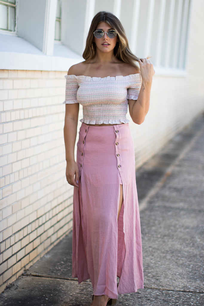 S / Blush Button Detail Maxi Skirt - Madison + Mallory