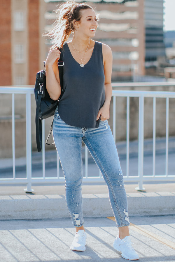 Kalene V-Neck Tank - Charcoal - Madison and Mallory