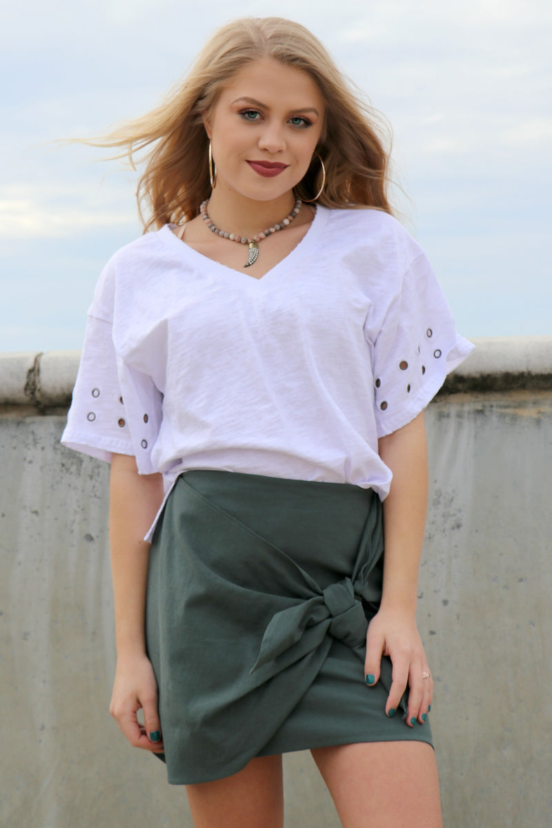 S / Dusty Green Tie Front Skirt - Madison + Mallory