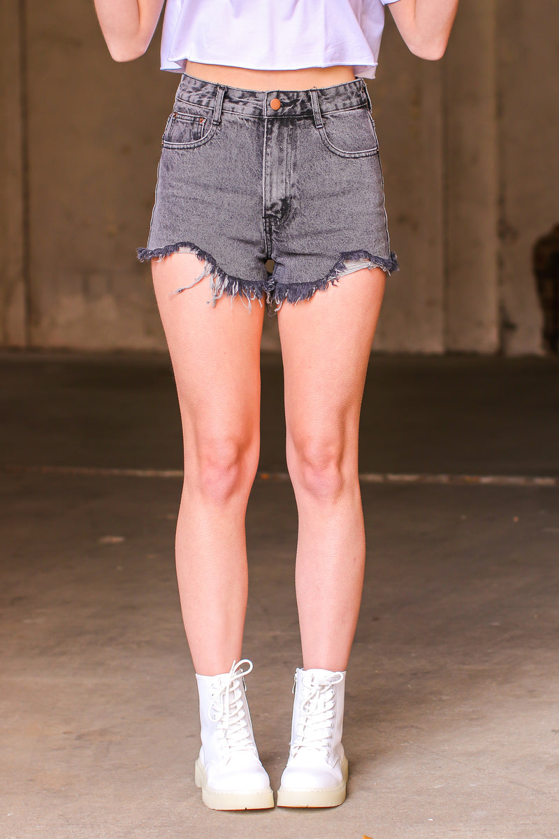 S / Charcoal Glenford Distressed Denim Cutoff Shorts - Madison and Mallory