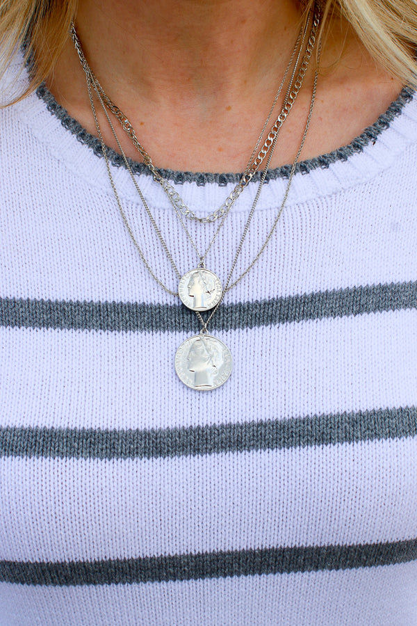 OS / Silver Conover Multi Strand Coin Necklace + MORE COLORS - Madison + Mallory