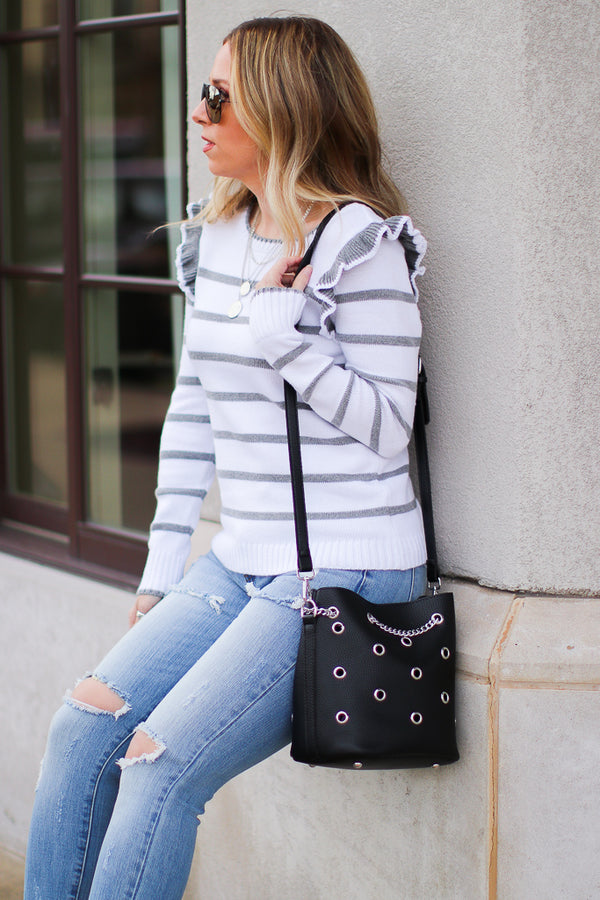 OS / Black Vestavia Grommet Bucket Bag - Madison + Mallory