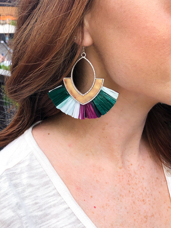 Multi Early Morning Raffia Fan Earrings - Madison + Mallory