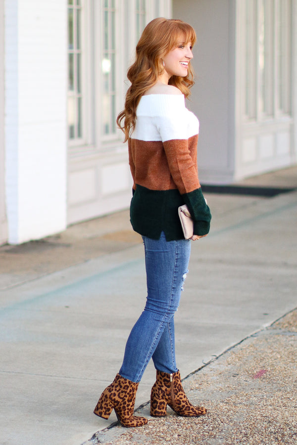 Stanton Off Shoulder Color Block Striped Sweater - Madison + Mallory