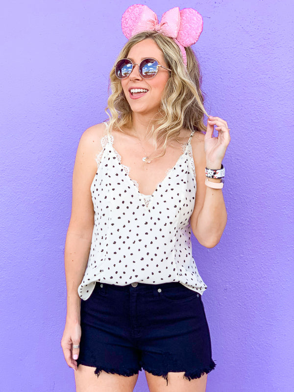 S / Ivory Had Me at Hello Polka Dot Lace Top - Madison + Mallory