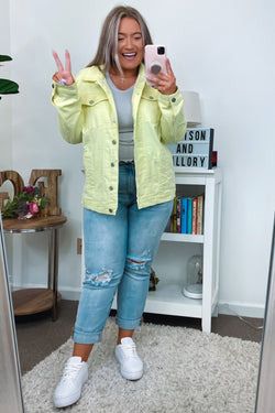 S / Neon Yellow Upgrade Distressed Denim Jacket - Neon Yellow | CURVE - Madison and Mallory