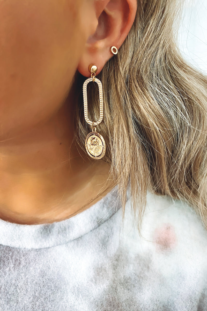 Gold Flowers that Be Coin Earrings - Madison and Mallory