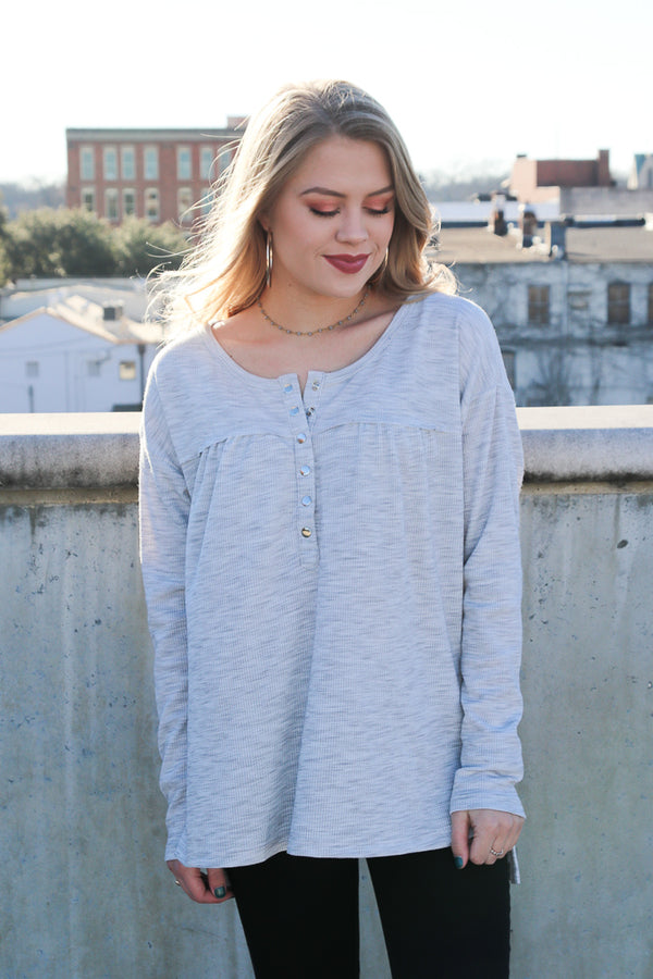 S / Heather Gray Marcella Thermal Button Down Top - Madison + Mallory