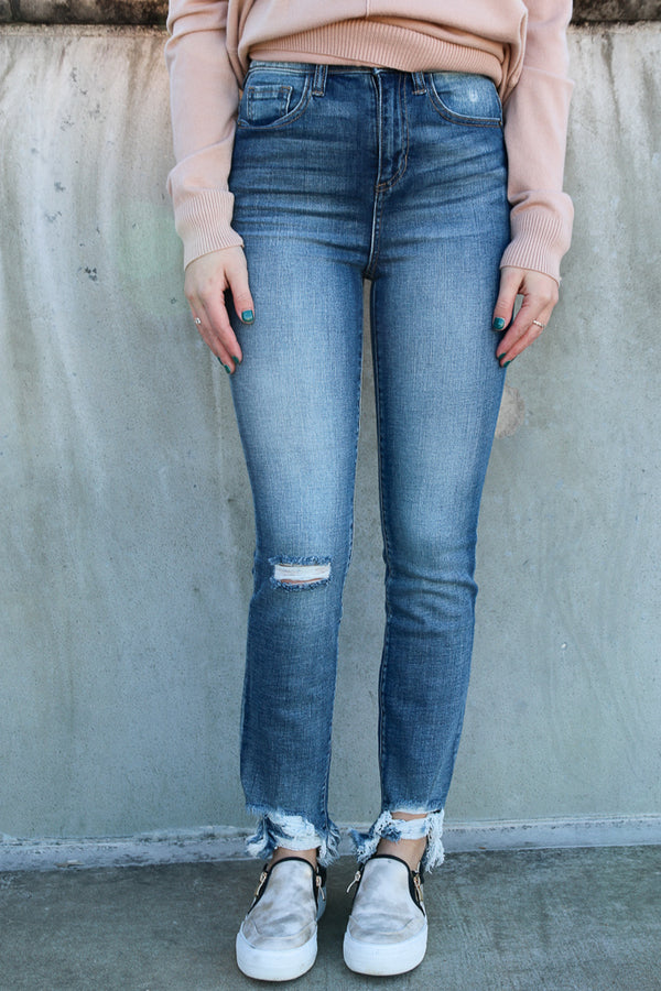1 / Md. Light Josie Frayed Jeans - FINAL SALE - Madison and Mallory