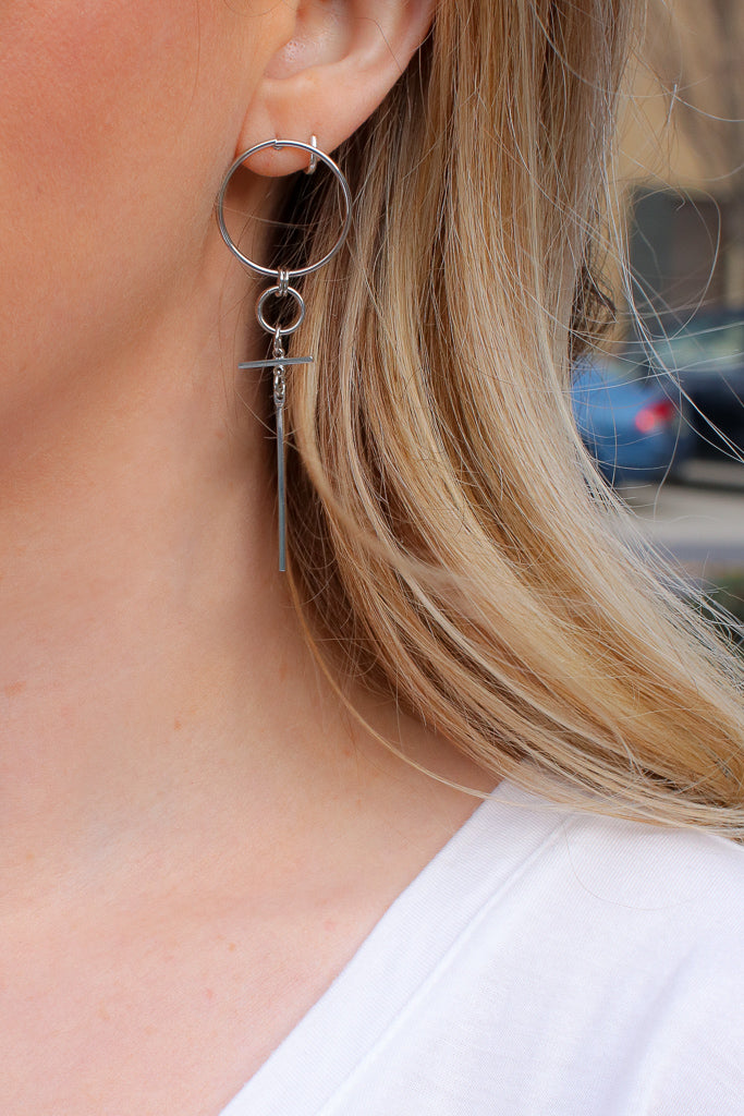 OS / Silver Keep Me In Mind Cross Earrings + MORE COLORS - Madison + Mallory