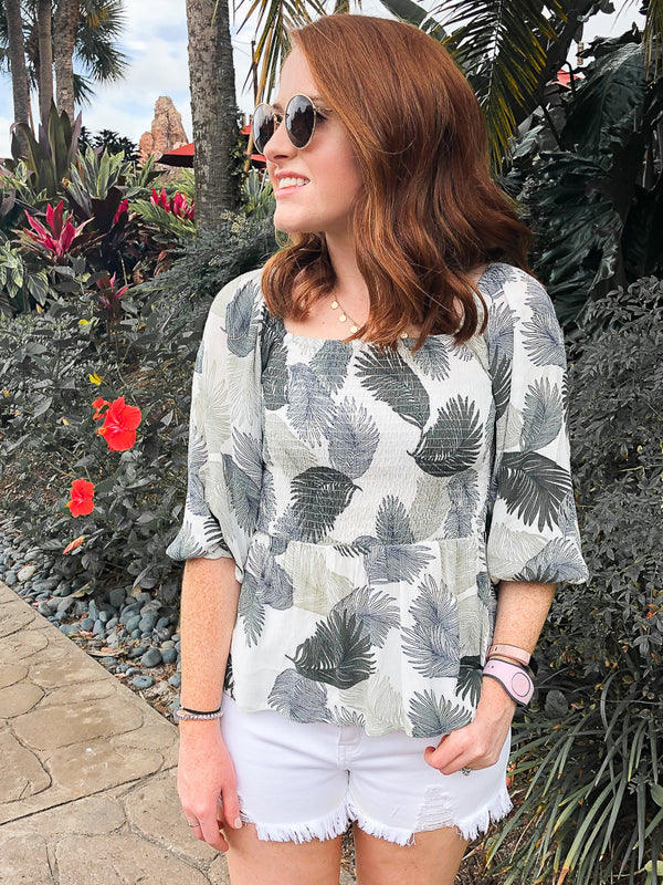 S / Sage On Deck Leaf Print Flowy Top - FINAL SALE - Madison + Mallory
