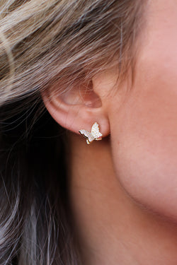 Gold Butterfly Away CZ Earrings - Madison and Mallory