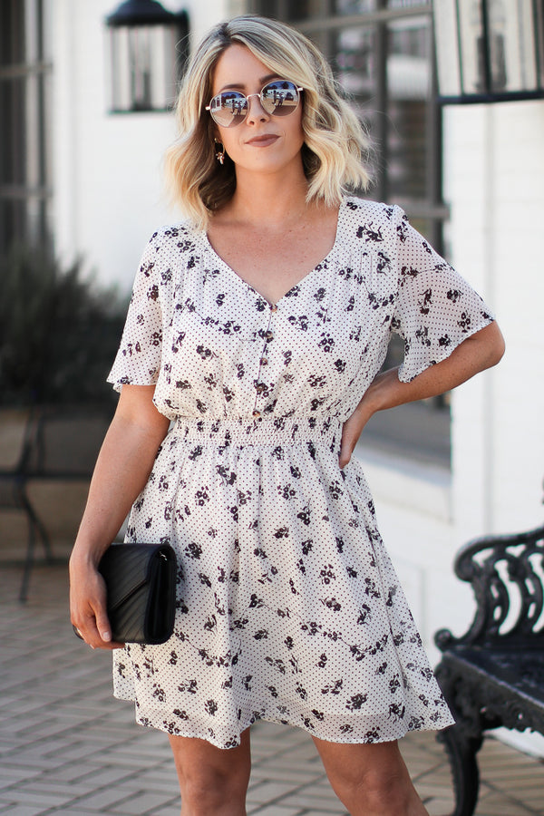 Sing to Me Floral and Polka Dot Flared Dress - Madison + Mallory