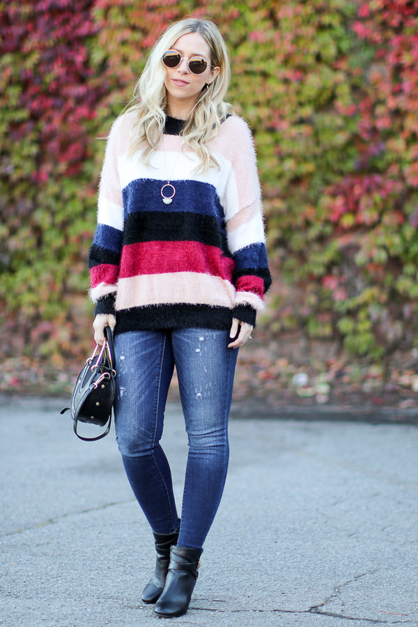 Desmond Mohair Color Block Stripe Sweater
