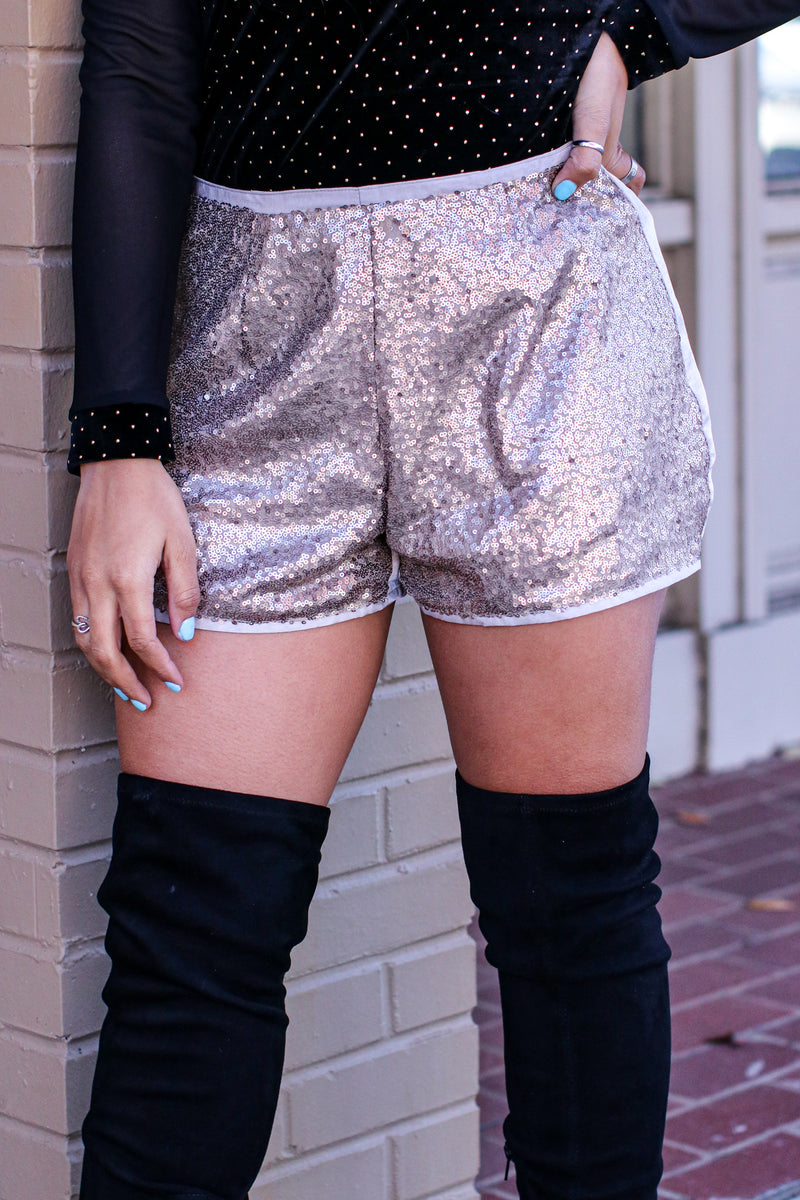 Golden Days Sequin Detail Shorts - Madison and Mallory