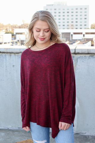 M / Burgundy Asymmetrical Long Sleeve Top - Madison + Mallory