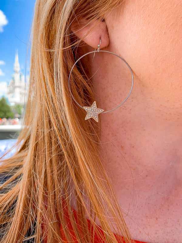 Silver Star Sky Crystal Hoop Earrings - Madison + Mallory
