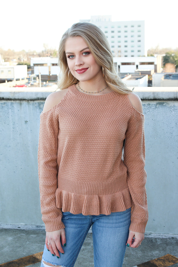 S/M / Beige Cold Shoulder Peplum Sweater - Madison + Mallory