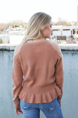 Cold Shoulder Peplum Sweater