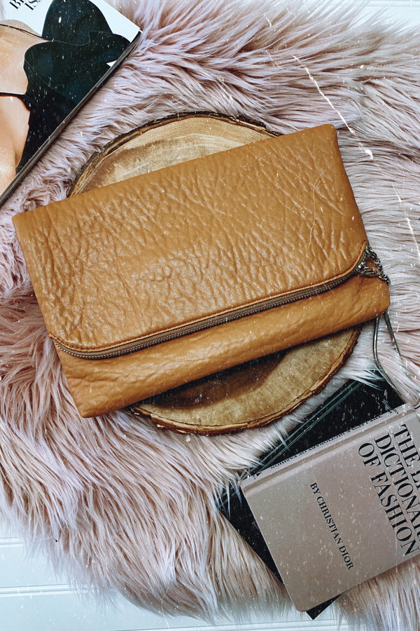 Tan Cyprus Fold Over Clutch - Madison and Mallory