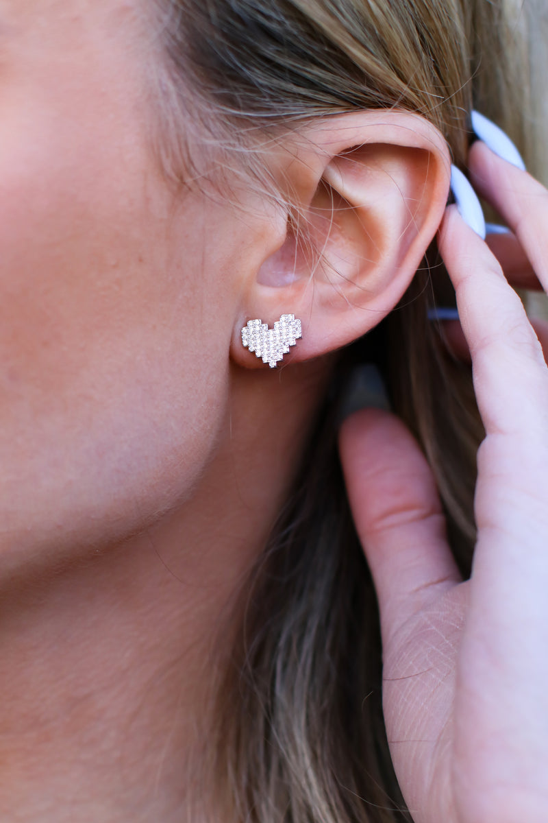 Pixelated Love Heart Earrings - Madison and Mallory