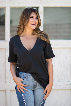 S / Black Sloane V-Neck Tee - Madison + Mallory