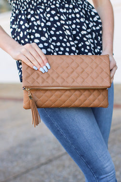 Stone Glambition Quilted Faux Leather Clutch - Stone - Madison and Mallory