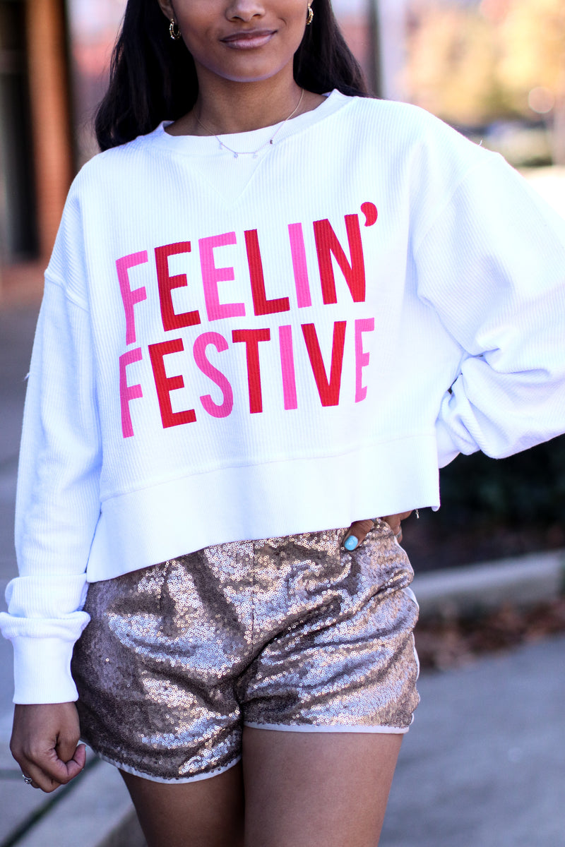 S / White Feelin' Festive Corded Crop Pullover - FINAL SALE - Madison and Mallory