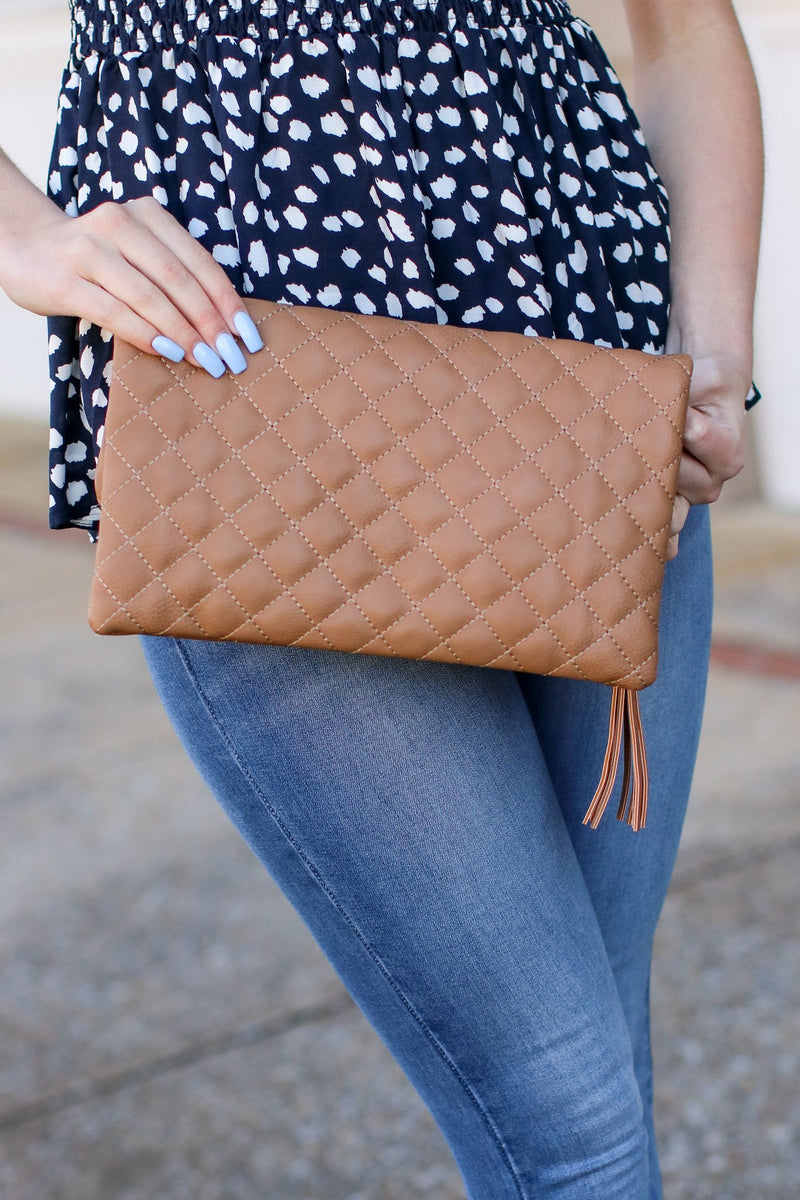 Glambition Quilted Faux Leather Clutch - Stone - Madison and Mallory