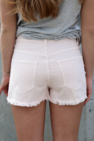 High Rise Distressed Hem Shorts