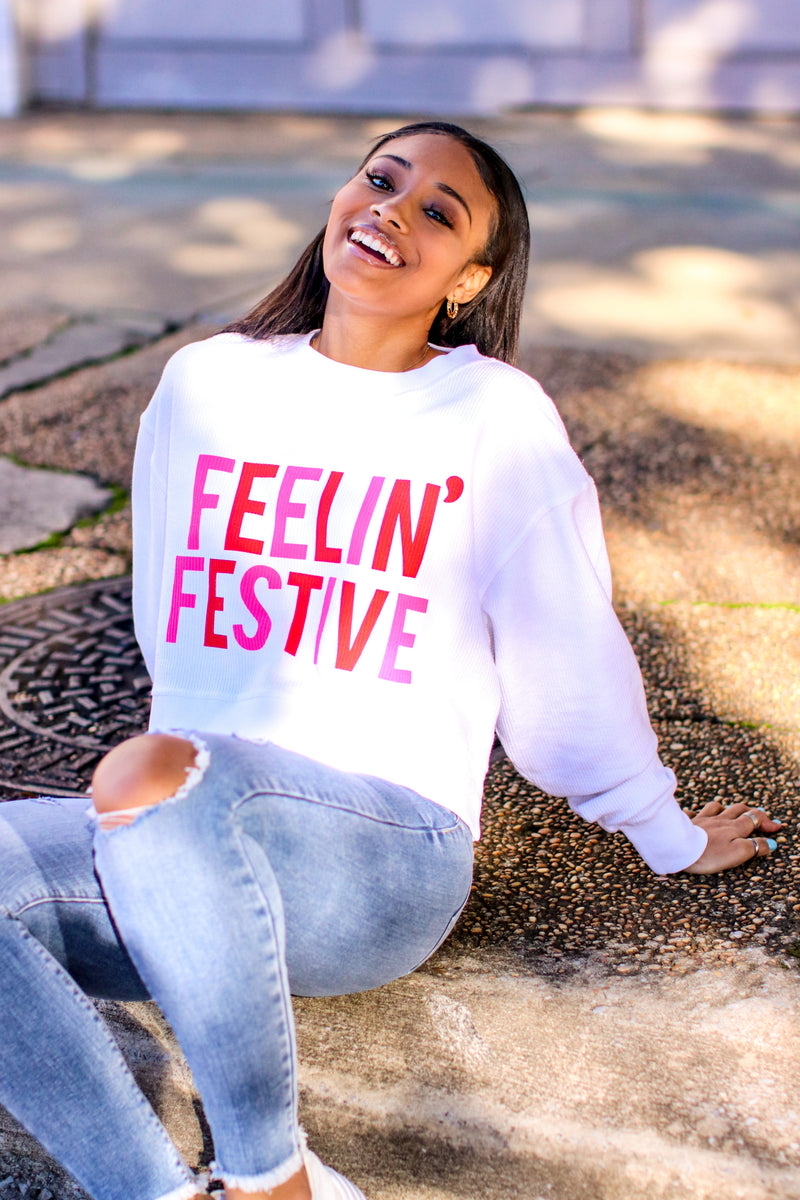 Feelin' Festive Corded Crop Pullover - FINAL SALE - Madison and Mallory