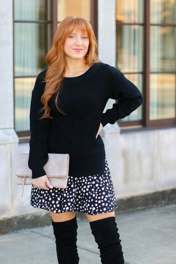 SM / Black Almost Lover Polka Dot Ruffle Layered Sweater Tunic Dress - Madison + Mallory