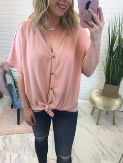 Blush / S Thermal Knot Button Down Top - Madison + Mallory