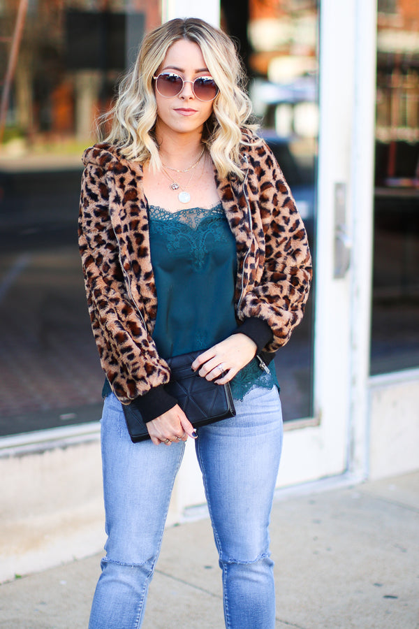 S / Brown Into the Wild Leopard Faux Fur Bomber Jacket - Madison + Mallory