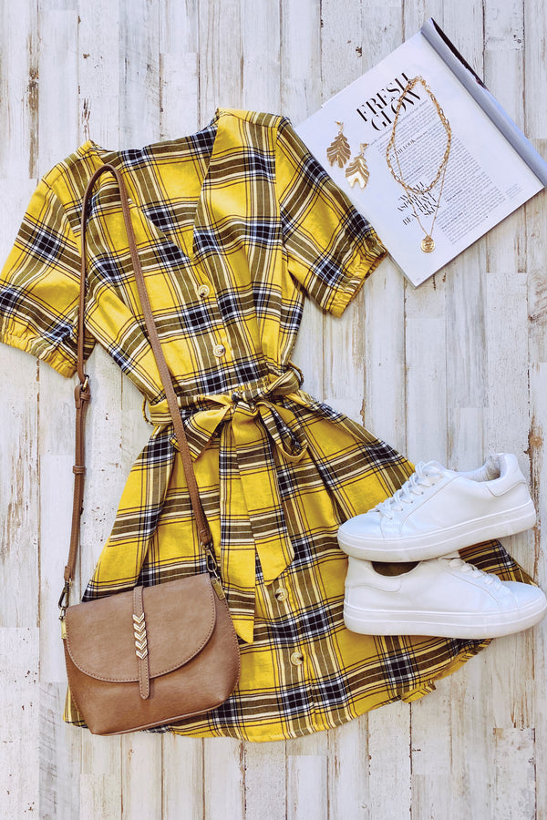 As If Plaid Tie Waist Dress - Madison and Mallory